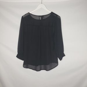 Maurices Tops - Maurice's Black Dotted Chiffon Long Sleeve Blouse